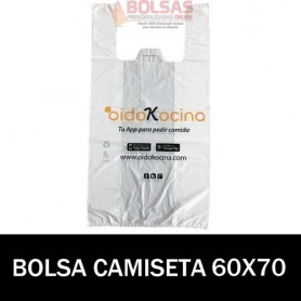BOLSAS DE PLASTICO ASA CAMISETA IMPRESA 60X70 G.100
