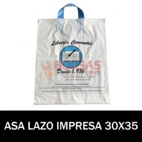 BOLSAS DE PLASTICO ASA DE LAZO IMPRESAS 30X35 G200