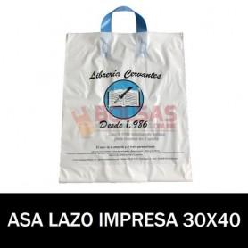 BOLSAS DE PLASTICO ASA DE LAZO IMPRESAS 30X40 G200