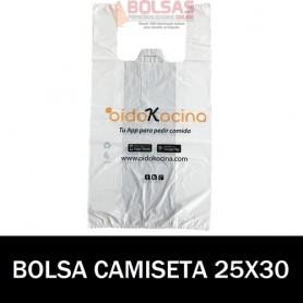BOLSAS DE PLASTICO ASA CAMISETA IMPRESA 25X30 G.70