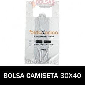 BOLSAS DE PLASTICO ASA CAMISETA IMPRESA 30X40 G.70