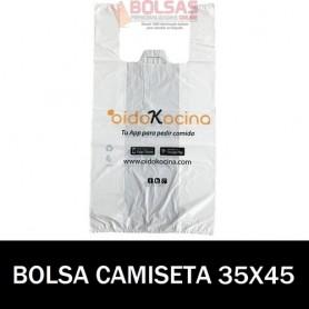 BOLSAS DE PLASTICO ASA CAMISETA IMPRESA 35X45 G.70